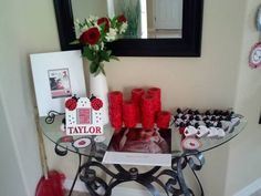 Lady Bug Birthday Party Ideas Entry Table with First Year Photo Book and Favors