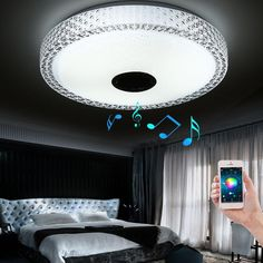 New App Bluetooth Music Led Ceiling Light Smartphone Dimming Discoloration Light Fixture Led Modern Lighting For Bedroom