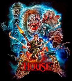 House - art by Devon Whitehead - horror - horrorart - horrormovie - horrorshirt - monster - creature Horror Movie Characters, Horror Movie Posters, Movie Poster Art, Comics Vintage, Vintage Movies, New Retro Wave, Horror Artwork, Horror Monsters, Horror Icons