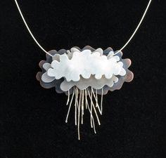 Silver Rain Clouds Necklace Silver Lining por NIKJewelry en Etsy