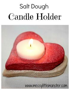 Messy Little Monster: Salt Dough Crafts: Heart Candle Holder (Valentines day)