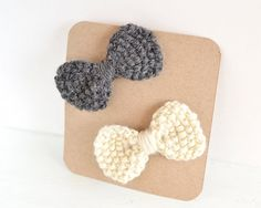 Set of 2 Hand Knit Bow Hair Clips by LunaCabCo on Etsy, $10.00