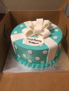 Tiffany blue present cake with polka dots