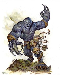 Laestrygon (Greek) - Giant cannibals that feed on other Giant-breeds especially the gentle giants. They hunt in great packs and use their long nails to skin a giant alive so they can wear their skins, the Laestrygon don't have skins of their own. Most other giants fear them.