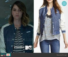 Malia's blue bomber jacket with white sleeves on Teen Wolf. Outfit Details: https://wornontv.net/64424/ #TeenWolf
