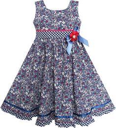 Sunny Fashion Girls Dress Flower Plaid Waist Hem Bow Tie Sleeveless 4-8 NWT #SunnyFashion #Everyday