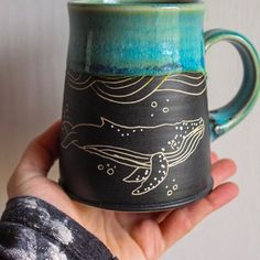 Humpback and Orca whales will be making an appearance in the shop tomorrow! I'll start previews here on Instagram today and tomorrow. Keep checking back! . . . . . .#sgraffito #sgraffitomug #handmademug #whalemug #orcawhale #humpbackwhale #humpbackwhalemug #shopsmall #potterylove #blackandwhite #teal #turquoise #glazeporn #coffeemug #bigmug #coffeetime #pitchpinepottery #instapottery #colorfullife #underthesea #nautical #oceaninspired #beachyvibes #oceanvibes