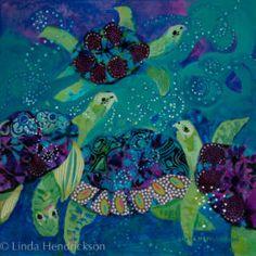 "Paintings | Linda Hendrickson Artist ""Sea Joy"" Mixed Media on panel 12"" x 12"""