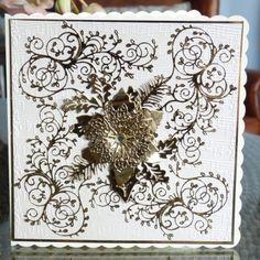 Lavish Poinsettia (D452), Holly Flourish (D409) www.tatteredlace.co.uk Christmas 2016, Christmas Cards, Tattered Lace Cards, Die Cut Cards, Poinsettia, Flourish, Cardmaking, Vintage World Maps, Moose Art