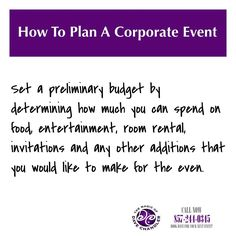 #HowToPlanACorporateEvent Set a preliminary budget by determining how much you can spend on food, entertainment, room rental, invitations and any other additions that you would like to make for the even. ********************************************* #corporateentertainers #corporatemagicians #corporatebostonmagicians #bostonentertainers #davechandler #closeupshow #revueshowsentertainers #theatershowsentertainers #germanmagiccircle #massachusettsmagician #massachusetts #boston #newhampshire…