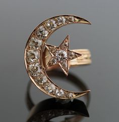 Antique Diamond Moon & Star Ring by SITFineJewelry on Etsy