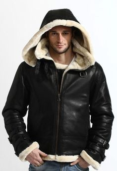 B3 BOMBER GENUINE LEATHER SHEEPSKIN LEATHER REMOVABLE HOOD JACKET  fashion   clothing  shoes   496dbca18f5e