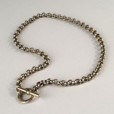 Vintage Brass Toggle Chain Choker Necklace
