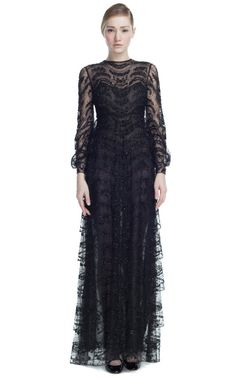 Shop Tulle Illusione Long Sleeve Embroidered Gown by Valentino for Preorder on Moda Operandi