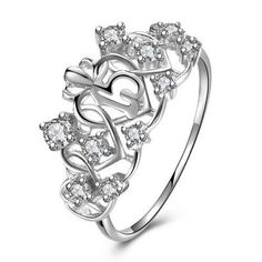 AINUOSHI Cute 925 Sterling Silver Crown Ring Vintage Jewelry Aliancas Casamento for Women Engagement Wedding Birthday Ring Gift Sweet 15 Quinceanera, Quinceanera Decorations, Quinceanera Ideas, Accesorios Casual, Engagement Jewelry, Crystal Earrings, Crystal Ring, Sterling Silver Jewelry, 925 Silver