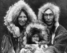Inuit Eskimo family in the Artic, Canada