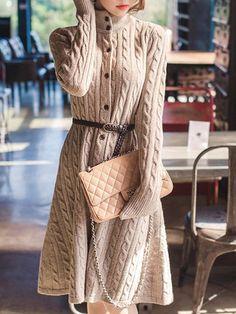 Shop Dresses - Elegant Long Sleeve Stand Collar Dress online. Discover unique designers fashion at JustFashionNow.com.