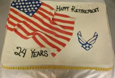 Air force retirement cake made by Tay's Treats. Facebook.com/taystreats