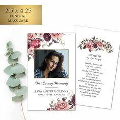 The memorial keepsake boasts the beauty of feathers, florals and your loved one's image. We customize both sides of the cards with your wording and photo. All cards arrive printed on our gorgeous #120 card stock.