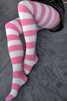 Extraordinarily Longer Striped Thigh High, Plus sized! They say these streach out to a 26inch round thigh (mine is bigger) I bought these anyway because I love them so we will see how they fit. They are $20 and they have a TON of colors. Free shipping on any order. The pink and cream are currently out of stock.
