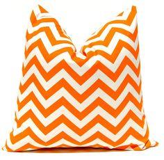 Orange Chevron Throw Pillow Covers Orange 16x 16 Inches Tangerine Orange Chevron Decorative PIllows Throw Pillow. $25.00, via Etsy.