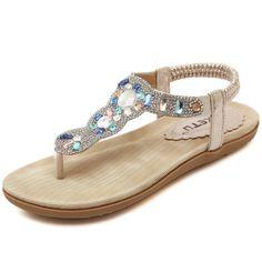 056d712409c267 Shop for Zicac Womens Round Peep Clip Toe Rhinestone Elastic T-strap Bohemia  Roman Sandals Summer Beach Post Sandals Flip Flops Flat Shoes Thongs.