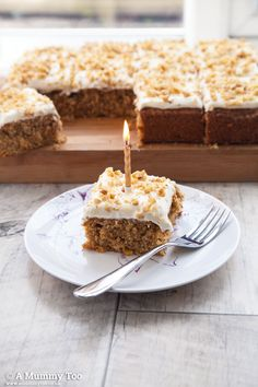 It's a moist, sweet, decadently rich carrot cake, topped with soft and smooth cream cheese frosting and a sprinkle of chopped walnuts for the perfect texture.