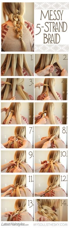 The simplest tutorial for one of the prettiest braids! Full steps here: http://www.latest-hairstyles.com/tutorials/5-strand-braid.html