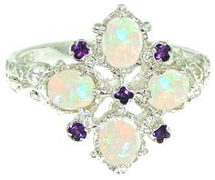 "A beautiful Antique Style 9ct White Gold Amethyst & Opal Ring set with five small 2mm (0.08"" inches) Amethysts & four 5x4mm (0.20""x0.16"" inches) colourful fiery Opals in an stunning 9ct white Gold setting.  <P>In Stock - Usually delivered within 2-3 days (UK) 7-14 days (International)"