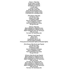 LYRICS FOR RITA ORA AND LIAM PAYNE  FOR YOU IT IS NOT TO BAD I SEE IT USED AS THE SONG FOR THE HONEYMOON / JET SKI SCENES