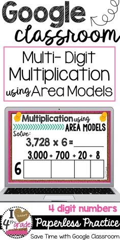Google Classroom Ideas | Google Classroom Elementary Math | Multiplication 4th grade | Multiplication using Area Models | Looking for a fun way to practice multiplication?  You will love this paperless activity to be used with Google Classroom ($)