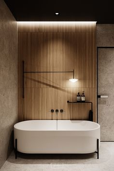 """homedesigning: """" Elegance and Class Wrapped In Two Modern Interiors """" Modern Bathtub, Modern Bathroom Design, Bathroom Interior Design, Modern Toilet Design, Wc Design, House Design, Closet Lighting, Luxury Decor, Small Bathroom"""