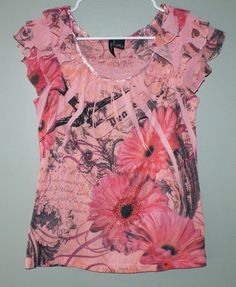 New Directions petite peach floral cap sleeve shirt womens size PM #NewDirections #KnitTop #Casual