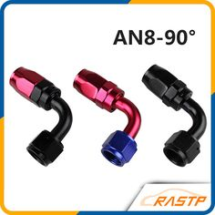Anoized Aluminum 90 Degree Oil Fuel Swivel Fitting Fuel Hose End Male Adaptor Oil Cooler Fitting Oil Fuel Hose End LS-AN8-90 #Affiliate