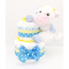 Diaper Cake  Diaper Cakes For Boys  Cow by BouncingDiaperCakes