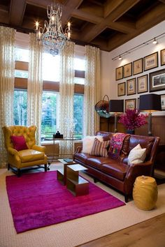 Living room – chandelier, leather couches, mustard yellow and ...