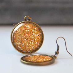 Orange Glitter Earrings Picture Earrings 25 mm 1 Inch Round Dangle Statement Earrings Bohemian Resin Jewelry