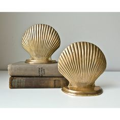 Brass Seashell Bookends ($32) ❤ liked on Polyvore featuring home, home decor, small item storage, brass home accessories, solid brass bookends, brass bookends, brass book ends and seashell bookends