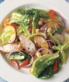 Spiced Chicken Salad With Plums and Chickpeas from realsimple.com #myplate #protein #vegetables
