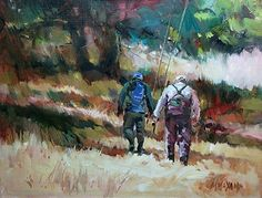Friends and Fishing, fly fishing, mary maxam, oil painting, yellowstone park