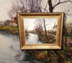 Flämische Flusslandschaft. Orig. Ölgemälde, Impressionist. Signiert R. De Groodt