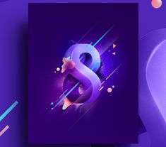 Graphic illustration of number 8 made for an animated countdown video.The main shapes evolve from illustrator simple vector to a photoshop post production composition.