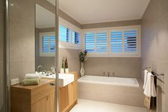 Hotondo Homes - Seaspray Bathroom Laundry In Bathroom, Bathroom Renos, Bathroom Ideas, Bathrooms, Simple Bathroom, Hotondo Homes, Bathroom Cabinetry, Display Homes, Home Fashion