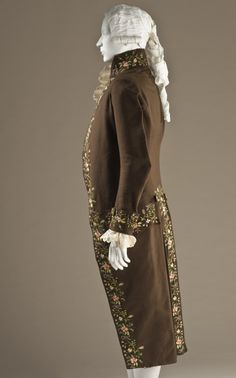 Man's Suit  Probably England, circa 1780  Costumes  Wool broadcloth plain weave with polychrome silk embroidery