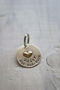 Brass Heart Pet Tag