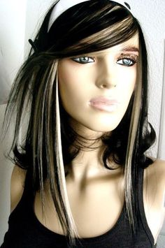 Black and Platinum Blonde Fringe HUMAN HAIR by LUMINORA on Etsy