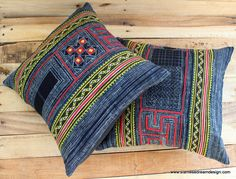 Indigo Blue Batik Appliqué & Yellow