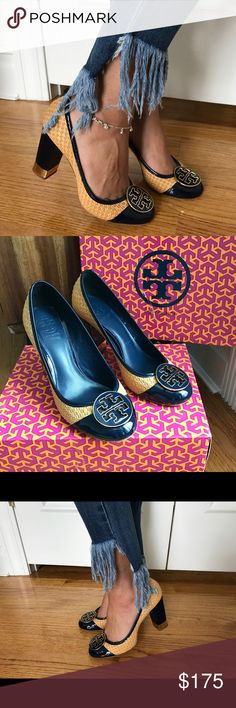 TORY BURCH Anna Straw Patent Pump Heels Navy 7.5 Like New  style # 32078609 color: Royal Navy Blue 418 size: 7.5  beautiful unique shoes perfect with dresses or jeans / pants. Comes with original box! Let me know if you have questions! Tory Burch Shoes Heels