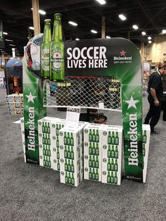 Heineken 'Soccer Lives Here' Free Standing Unit - Looking to get noticed with your point of sale display in a busy, fast-paced retail environment? Increase confidence in your sales with www.popthis.com.au