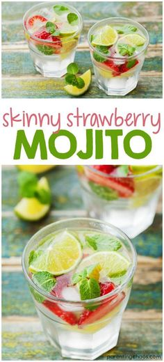Skinny Strawberry Mojito Recipe ⋆ Parenting Chaos This Skinny Strawberry Mojito is made from fresh mint, sweet strawberries and stevia. Such a delicious and refreshing drink, perfect for summer! Low Calorie Cocktails, Keto Cocktails, Cocktail Drinks, Cocktail Recipes, Drink Recipes, Drambuie Cocktails, Smoothie Recipes, Rumchata Cocktails, Popular Cocktails